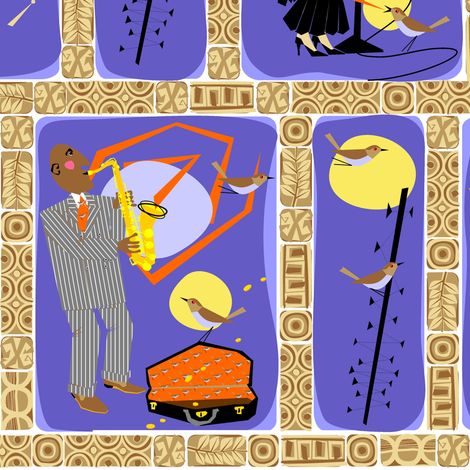 Cool cats in birdland fabric by moirarae on Spoonflower - custom fabric