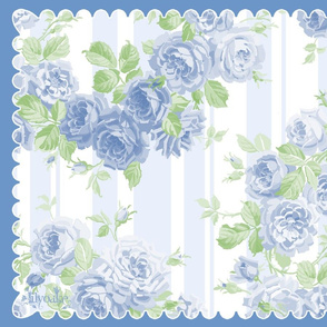 Tea Towel ROSES Blue