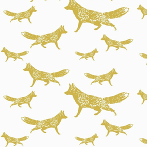 Trotting Foxes in Gold