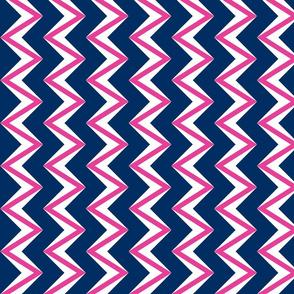 nested chevron modern pink - navy