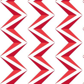 nested chevron 3D red - white