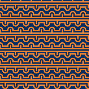 Semi Circle Chevron orange - navy