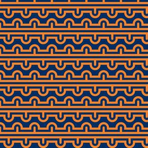 Semi Circle Chevron orange - navy
