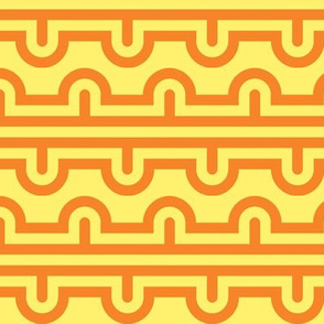 Semi Circle Chevron tracks orange - yellow