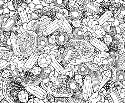Gemstones and Geodes colouring in