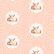 Bunnies in Love on Retro Peach Polka Dot Flower