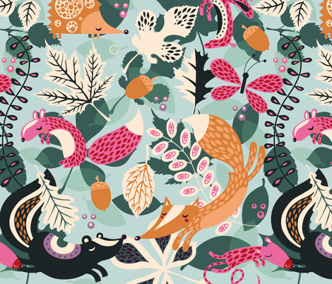 Lots of Leaves fabric by verycherry on Spoonflower - custom fabric