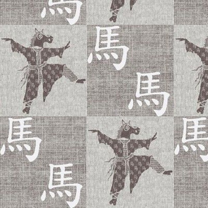 Chinese Year Of The Horse Dancer & Kanji - grey/white