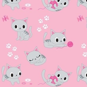 Cute Retro Kitties - Pink & Grey