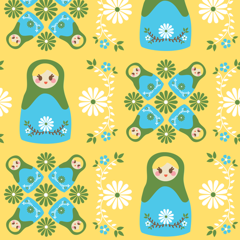 Cute Nesting Dolls - Yellow fabric by boredinc on Spoonflower - custom fabric