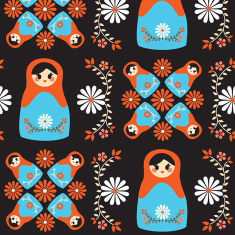 Cute Nesting Dolls - Black fabric by boredinc on Spoonflower - custom fabric