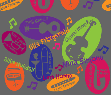 Colorful personalities of Jazz fabric by kfrogb on Spoonflower - custom fabric