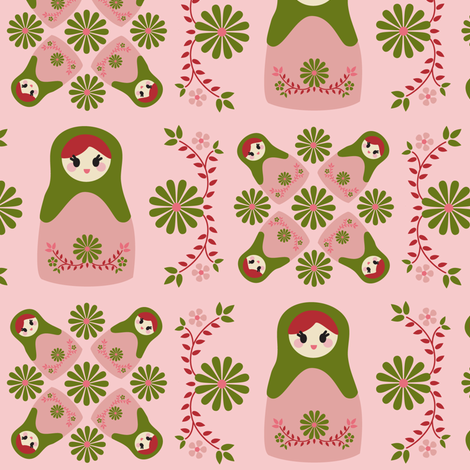 Cute Nesting Dolls - Pink fabric by boredinc on Spoonflower - custom fabric