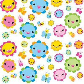 Happy Flowers & Bugs - White