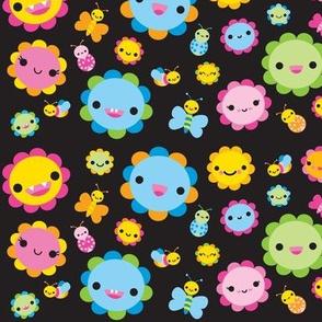 Happy Flowers & Bugs - Black