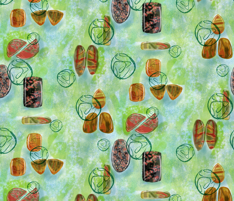 Gemstones on Green fabric by vinpauld on Spoonflower - custom fabric