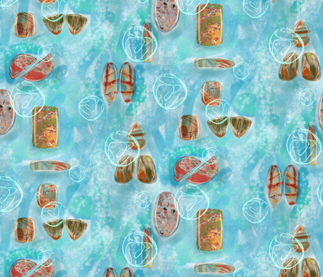 gemstones on blue 2 fabric by vinpauld on Spoonflower - custom fabric