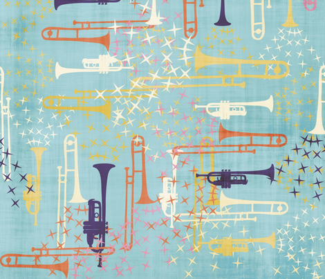 Spring Jazz - 6 fabric by owlandchickadee on Spoonflower - custom fabric