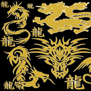 MIDNIGHT GOLDEN DRAGON PILLOW