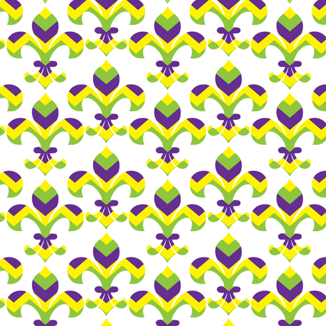 Mardi Gras Fleur de Lis Chevron fabric by writefullysew on Spoonflower - custom fabric