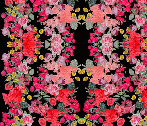 Antique Floral Print on Black fabric by theartwerks on Spoonflower - custom fabric