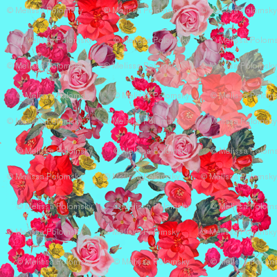 Antique Vintage Floral Print on Turquoise