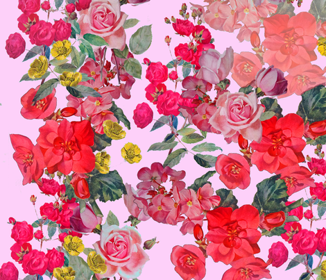 Vintage Inspired Floral Print on Pink fabric by theartwerks on Spoonflower - custom fabric