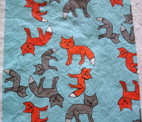 Fox Print on Blue