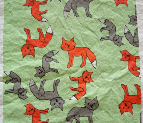 Fox Print on Green