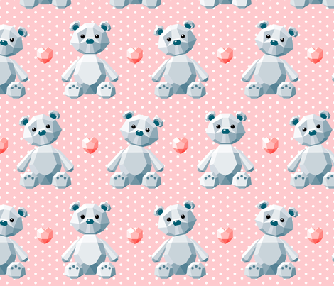 crystal bears on pink fabric by heleenvanbuul on Spoonflower - custom fabric