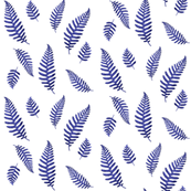 Vintage Botanical Ferns in Indigo