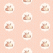 Bunny love in retro peach polka dot flower