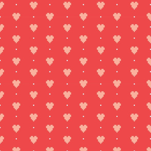 Pixel hearts and dots
