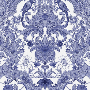 Parrot Damask ~ Blue and White ~ Offset