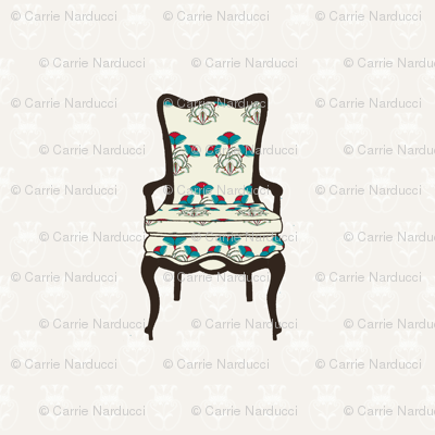Vintage chair with floral upholstery