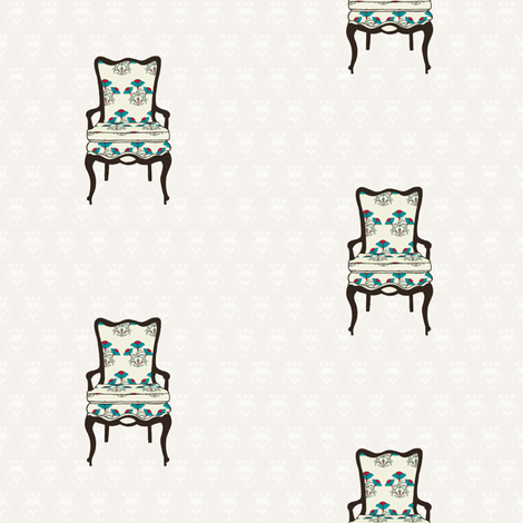 Vintage chair with floral upholstery fabric by cnarducci on Spoonflower - custom fabric