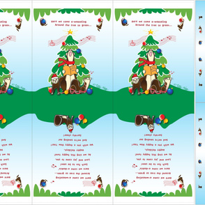"Singing Ferrets Christmas Tote Bags for 54"" wide fabric"