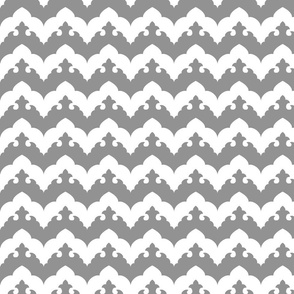 India Scalloped Chevron- Grey and White