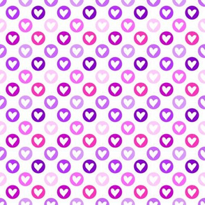 Colorful hearts in purple shades