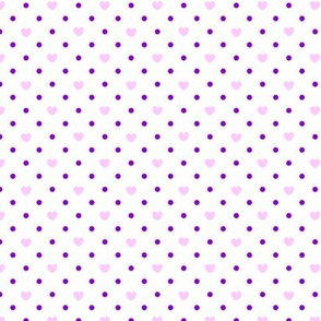 Polka hearts pattern in pink and purple