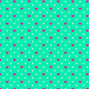 Polka hearts pattern in pink
