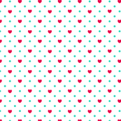 Polka hearts pattern in red
