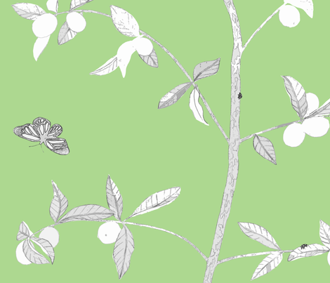 Jenny Modern kumquat on fresh green fabric by domesticate on Spoonflower - custom fabric