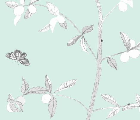 Jenny Modern kumquat on mint fabric by domesticate on Spoonflower - custom fabric