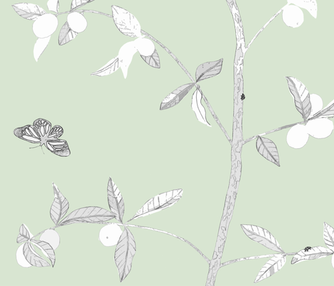 Jenny Modern kumquat on soft green fabric by domesticate on Spoonflower - custom fabric