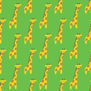 Giraffes on green