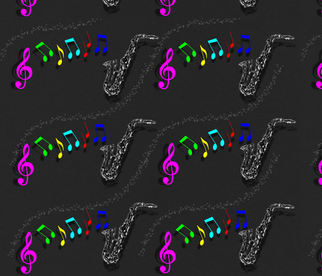 Saxaphone music fabric by sewpersonal_designs on Spoonflower - custom fabric