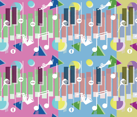 Jazz Keys in Three fabric by emilywhittaker on Spoonflower - custom fabric