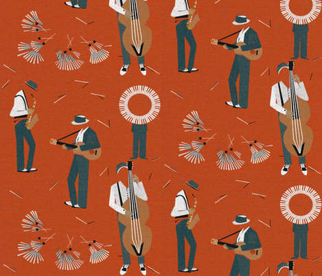 Jazz Men fabric by mirjamauno on Spoonflower - custom fabric