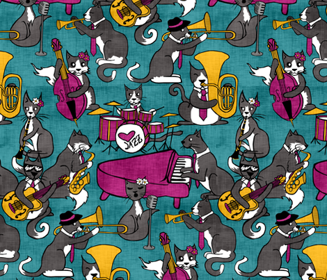 Tuxedo Cat Jazz fabric by pond_ripple on Spoonflower - custom fabric